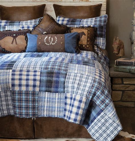 cowboy bedding cowboy denim plaid quilt bedding collection