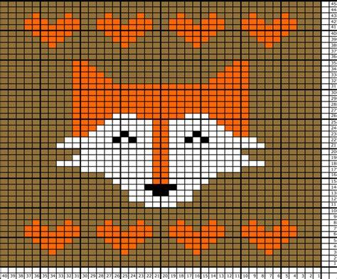 knitting chart fox tea towel knitting pattern