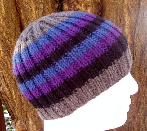 striped knitting pattern knitting pattern finn mans striped ribbed hat pattern easy