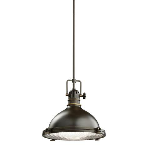 kichler 1 light industrial pendant 2665pn polished