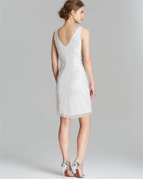 beaded white dress papell dress sleeveless v neck beaded shift in
