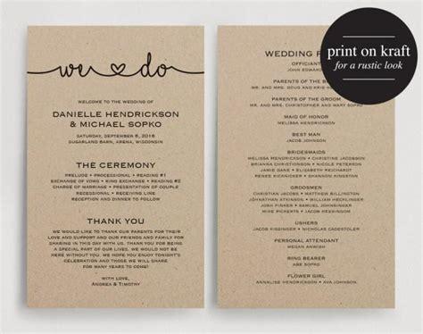 card programs wedding programs instant printable template