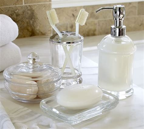 pottery bathroom accessories pb classic glass bath accessories pottery barn