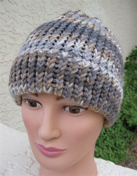 loom knitting hat brim loom knitted hat with a brim greys and browns by sewrichau