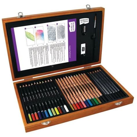craft sets derwent academy pencils wooden box set hobbycraft