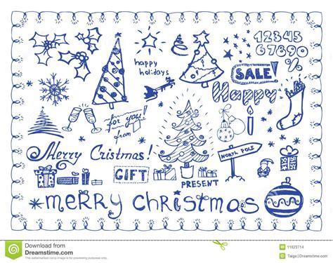 doodle lã sung doodles de la navidad ilustraciones vector fijadas