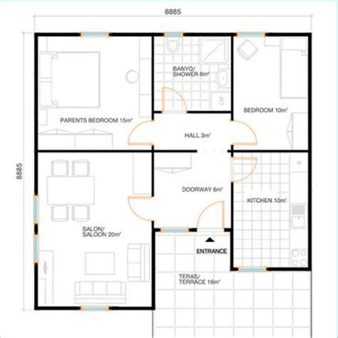 70 square meters 70 square meters with 2 bedrooms prefabricated home plan