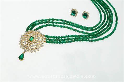 emerald mala beaded mala with emerald pendant south india jewels