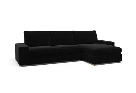 kivik two seat sofa and chaise longue right cover palermo black by covercouch