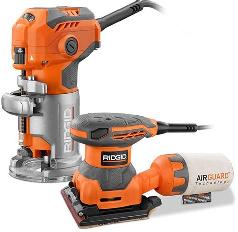 woodworking deals woodworking deal ridgid trim router and free sander for 99