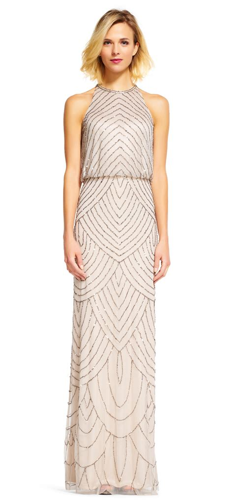 blouson beaded dress papell deco beaded blouson dress with halter