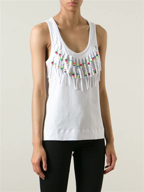 beaded tank tops moschino beaded fringe tank top in white lyst