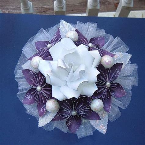 origami kusudama flower bouquet kusudama paper flower bouquet purple white lavender