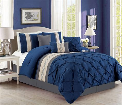 pinch pleat comforter set 7 pintuck pinch pleated navy ivory comforter set ebay