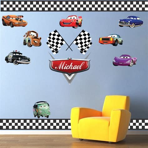 Car Wallpaper Stickers by Personalized Boys Race Car Name Decal Car Wall Decals
