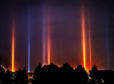 light pillars winter phenomenon illuminates skies in a