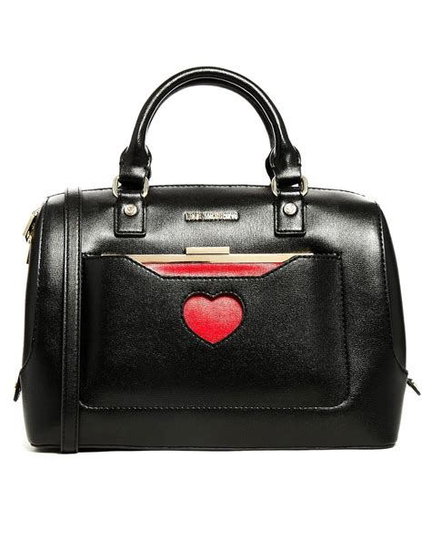 bag with moschino bowler bag with detachable purse in black lyst