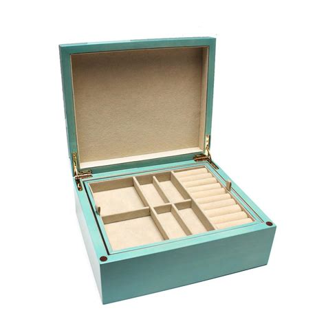 jewelry box supplies turquoise wood jewelry box with removable tray desires
