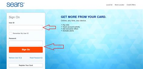 sears credit card make payment searscard login and manage your sears credit card