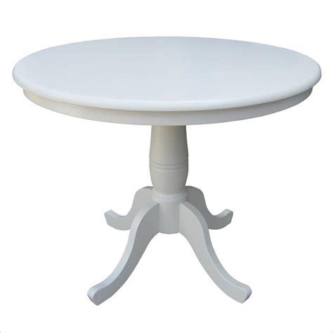 linen white 36 quot diameter top pedestal dining table