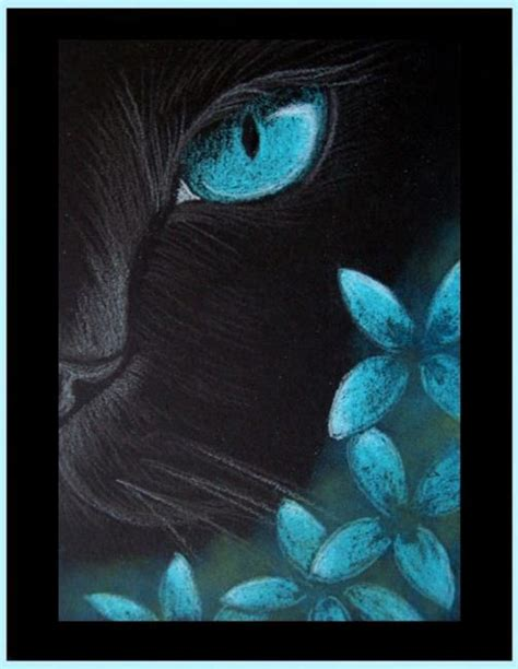 simple cat painting ideas black cat aqua flowers 4 by cyra r cancel from gallery