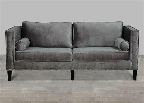 grey velvet sectional sofa grey velvet sofa with nailheads