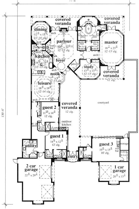 house plans courtyard home plans with separate office entrance