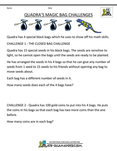 for 4th graders 4th grade math problems