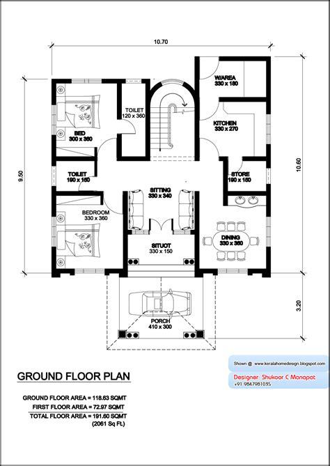 villa plan kerala villa plan and elevation 2061 sq home