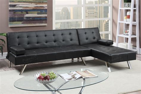 black sectional sofa bed poundex nit f7886 black leather sectional sofa bed
