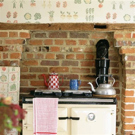 wallpaper kitchen ideas rustic kitchen with fruit and vegetable print wallpaper