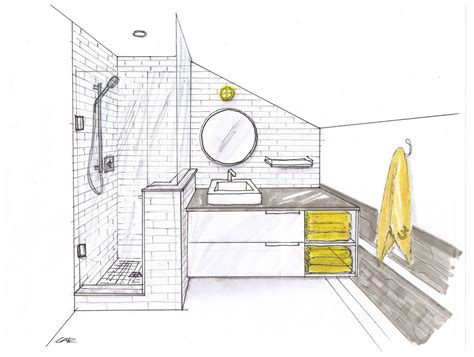 bathroom drawing bathroom one point perspective search drawings