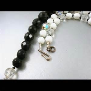 white glass bead necklace 76 jewelry vintage black white glass bead necklace