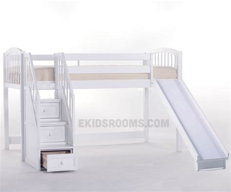 bunk beds with stairs and slide school house junior low loft bed with stairs and slide