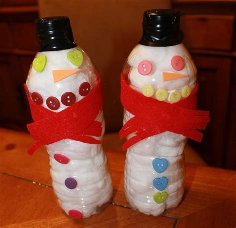water bottle crafts projects easy upcycled water bottle snowman craft crafty