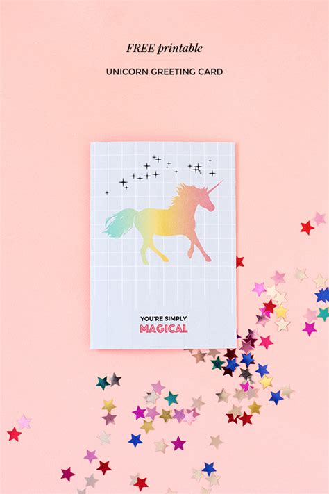 free paper downloads for card printable unicorn greeting card magical unicorn