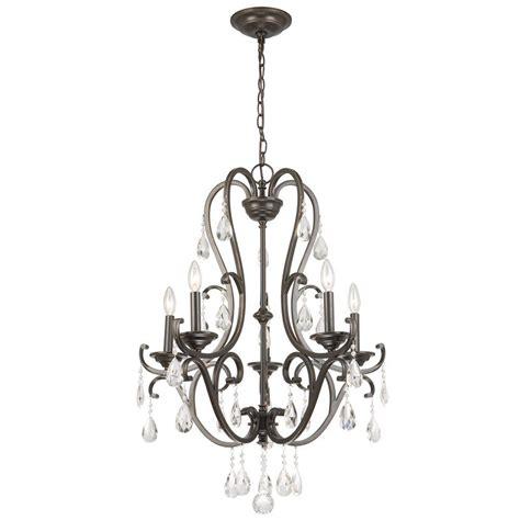 bronze chandeliers with crystals hton bay 5 light rubbed bronze chandelier