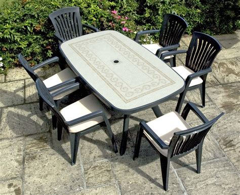 italian patio furniture nardi toscana anthracite dining table with 6 diana armchairs