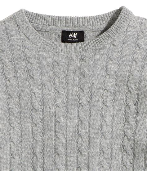 cable knit jumper h m wool blend cable knit jumper in gray for lyst