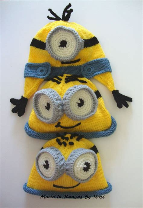 minion hat knitting pattern knitted minion hats made in kansas by rosi