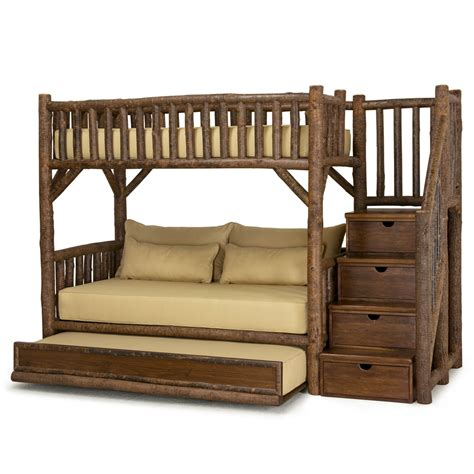 bunk beds with trundle rustic bunk bed with trundle and stairs 4690l 4692r