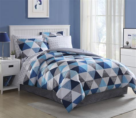 home bedding sets essential home complete bedding set blue triangles
