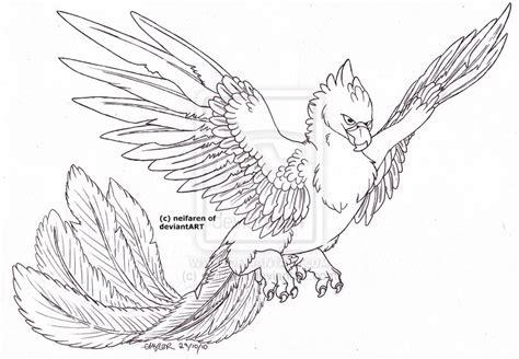 phoenix lineart by emzietowers on deviantart