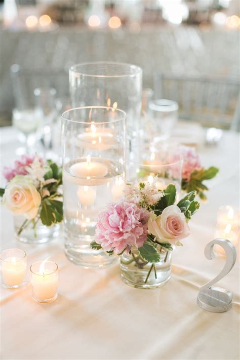 small table decorations les fleurs floating candle centerpieces blush pink