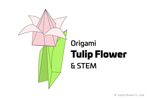 origami with stem how to make an origami tulip flower stem