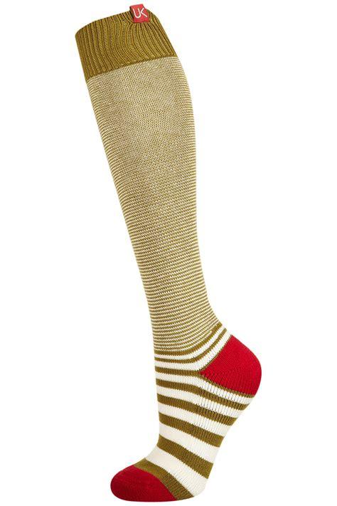 knitted knee high socks topshop knit knee high socks in green khaki lyst