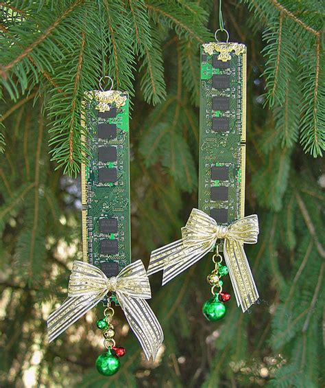 tree with ornaments recycled computer memory tree ornaments