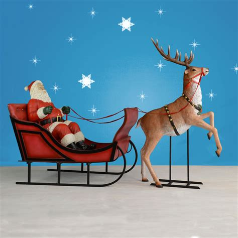 santa and reindeer sleigh size santa sleigh and rearing reindeer 120 quot w