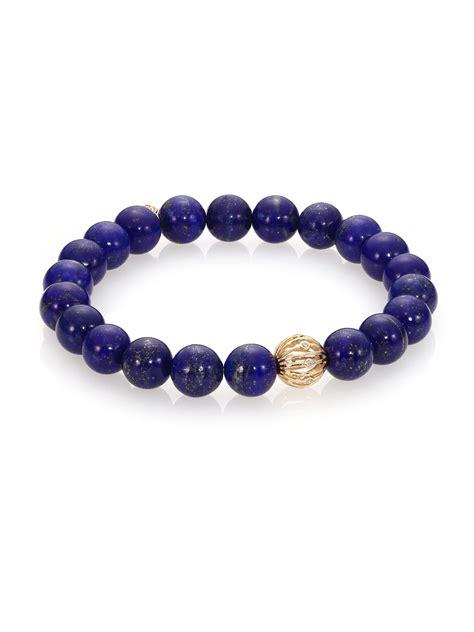 blue beaded bracelet sydney evan lapis 14k yellow gold beaded