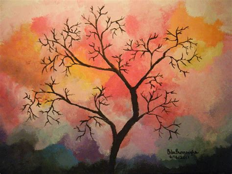 acrylic painting a tree abstract tree in acrylic painting by burroughs